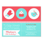Modern Cupcake Cooking Baking Birthday Party 4.25x5.5 Paper Invitation Card