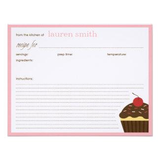 Modern Cupcake Personalized Recipe Cards Announcement