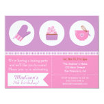 Modern Cupcake Purple Pink Baking Birthday Party Card