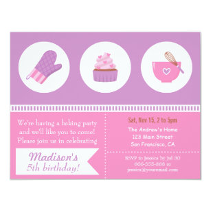 Cupcake birthday invitations announcements zazzle modern cupcake purple pink baking birthday party invitation filmwisefo