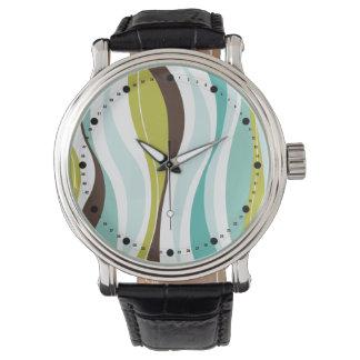 Modern Curvy Lines (aqua olive teal) Wrist Watches