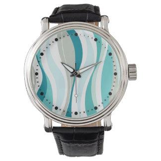 Modern Curvy Lines (aqua | teal) Wristwatch