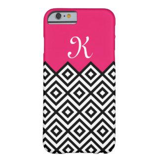 Modern Custom Black & Berry Pink Chevron Monogram Barely There iPhone 6 Case