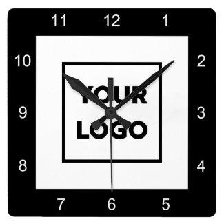 Modern Custom Business Logo Black White Square Wall Clock