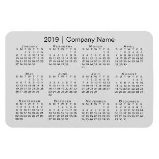 Modern Custom Company Name Gray 2019 Calendar Magnet