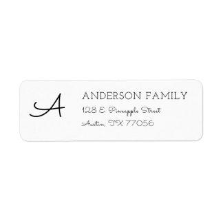 Modern Custom Family Monogram Return Address Label