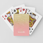 "Modern custom gold ombre pink block monogram playing cards<br><div class=""desc"">A custom and personalized modern,  luxurious and glam design with girly and elegant faux gold glitter ombre and colorful and pastel pink color block</div>"