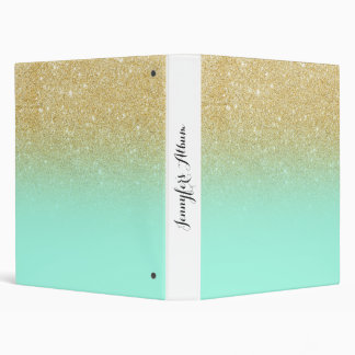 Modern custom gold ombre turquoise block 3 ring binder