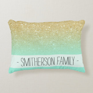 Modern custom gold ombre turquoise block accent pillow