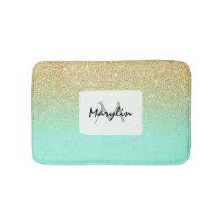 Modern custom gold ombre turquoise block bath mat