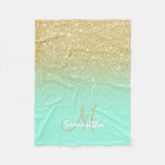 Modern custom gold ombre turquoise block fleece blanket