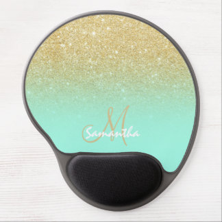 Modern custom gold ombre turquoise block gel mouse pad