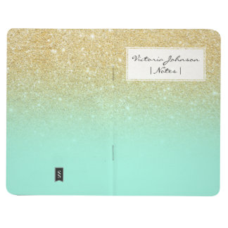 Modern custom gold ombre turquoise block journal