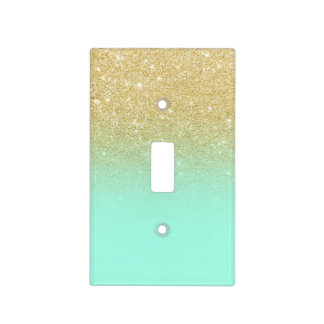 Modern custom gold ombre turquoise block light switch cover