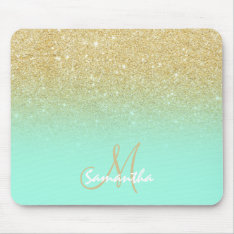 Modern Custom Gold Ombre Turquoise Block Mouse Pad at Zazzle