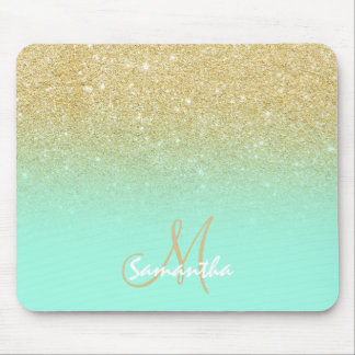 Modern custom gold ombre turquoise block mouse pad