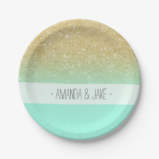 Modern custom gold ombre turquoise block paper plate