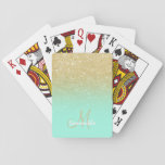 "Modern custom gold ombre turquoise block playing cards<br><div class=""desc"">A custom and personalized modern,  luxurious and glam design with girly and elegant faux gold glitter ombre and colorful and bright turquoise,  mint green color block</div>"