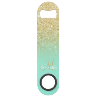 Modern custom gold ombre turquoise block speed bottle opener
