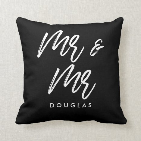 Modern custom Mr and Mr gay couple Throw Pillow