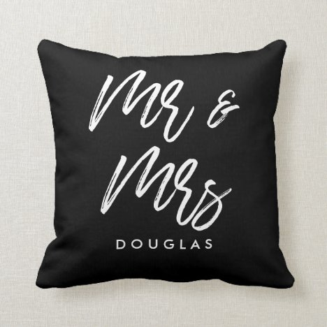 Modern custom Mr and Mrs Throw Pillow