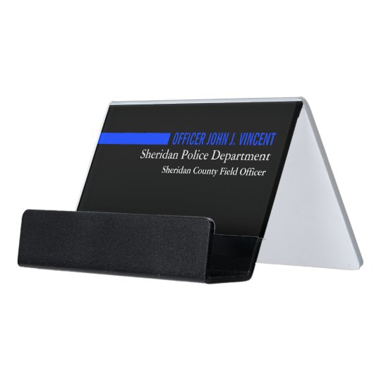 Modern Custom Name Thin Blue Line Police Desk Business Card Holder