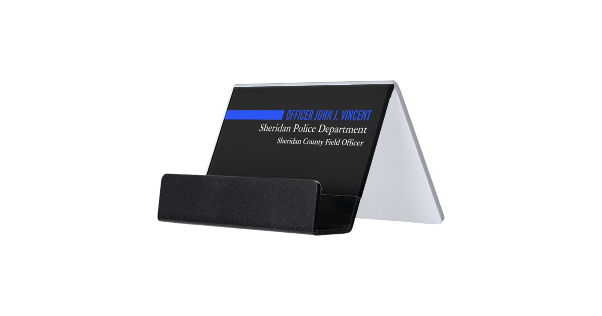 Modern Custom Name Thin Blue Line Police Desk Business Card Holder ...