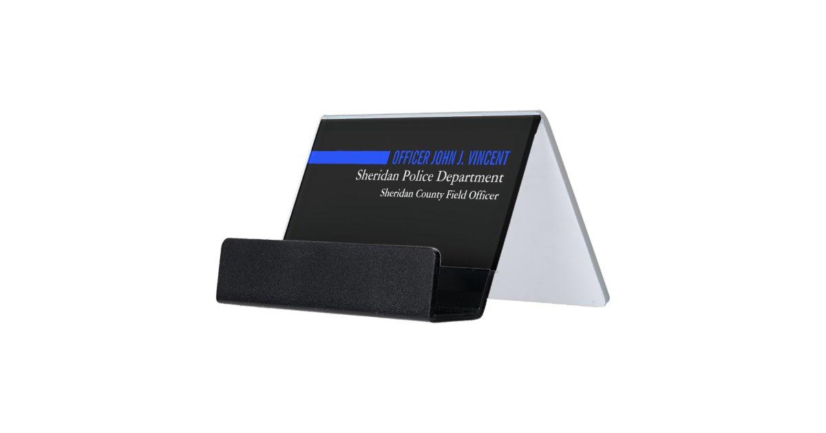 Modern Custom Name Thin Blue Line Police Desk Business Card Holder Zazzle Com