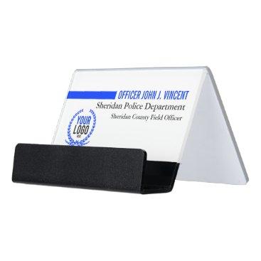 Professional Business Modern Custom Name Thin Blue Line Police White Desk Business Card Holder