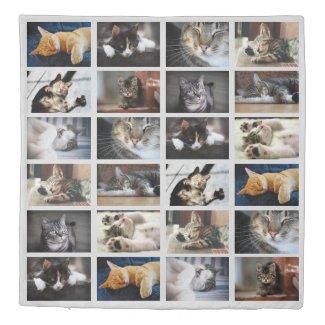 Modern Custom Photo Collage on Grey Reversible Duvet Cover