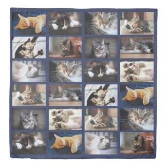 Modern Custom Photo Collage on Navy Blue Duvet Cover