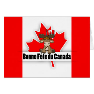 Modern Cut Out Effect French Canadian Bonne Fete Card