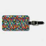 modern cute abstract color mosaic pattern tag for bags
