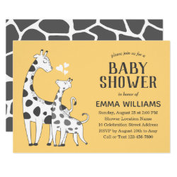 Modern Cute Animal Giraffe Baby Shower Invitation