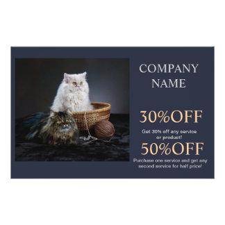 Modern cute animals pet service beauty salon full color flyer
