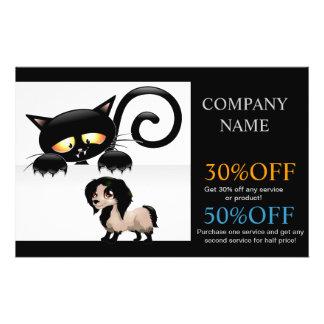 Modern cute animals pet service beauty salon flyer design