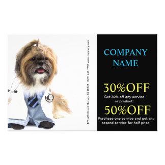 Modern cute animals pet service veterinary flyer