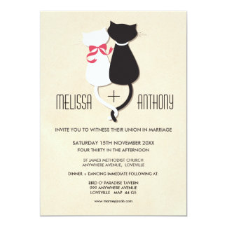 Modern Cute Cat Couple Monogram Wedding Invite
