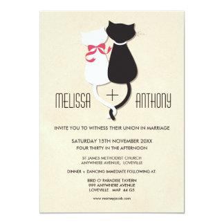 "Modern Cute Cat Couple Monogram Wedding Invite 5"" X 7"" Invitation Card"