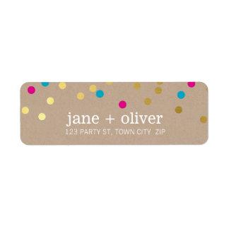 MODERN cute confetti spots gold pink aqua kraft Label