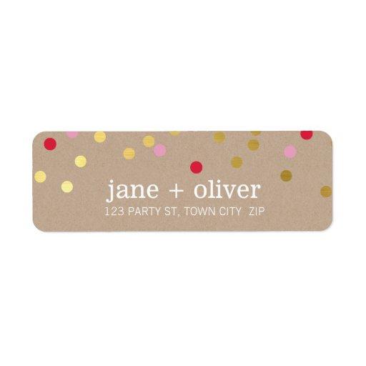 MODERN cute confetti spots gold red pink kraft Return Address Labels