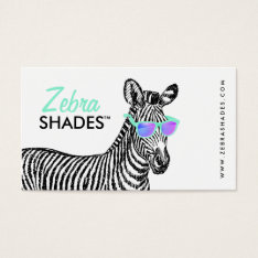 Modern Cute Funny Zebra Sketch Trendy Glasses Cool Business Card at Zazzle