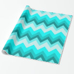 modern cute girly abstract teal turquoise chevron gift wrap paper