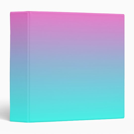 Modern Cute Girly Hot Pink Fuchsia Turquoise Ombre Binder