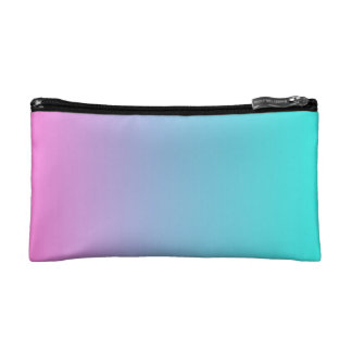 modern cute girly hot pink Fuchsia turquoise ombre Makeup Bag