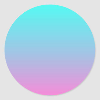modern cute girly hot pink Fuschia turquoise ombre Classic Round Sticker
