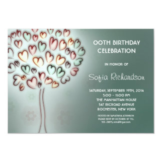 modern cute hearts tree birthday party card