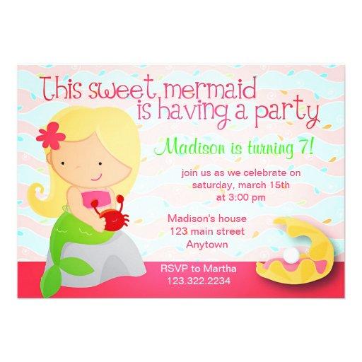 Modern Cute Mermaid Pink Birthday Party Invitation