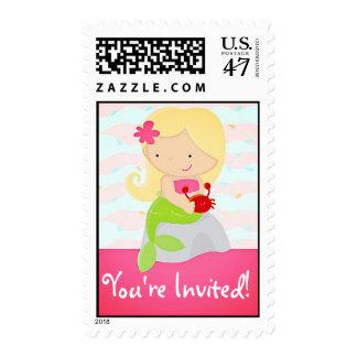 Modern Cute Mermaid Pink Birthday Party Postage