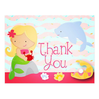 Modern Cute Mermaid Pink Birthday Party Thank You Postcard